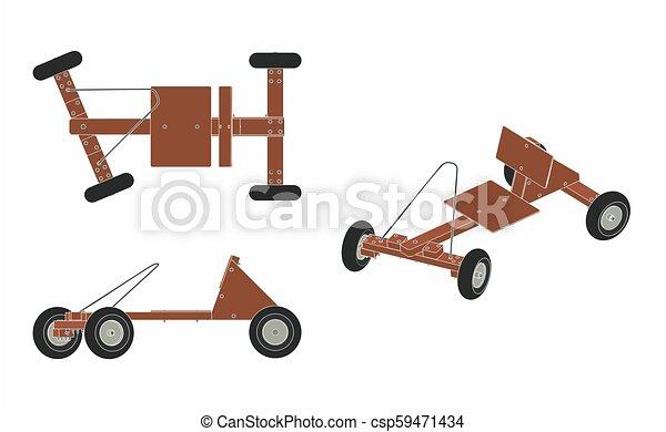 wóz, soapbox, szkic, bez - csp59471434