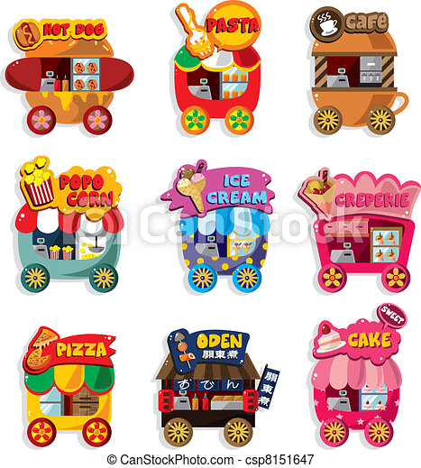 wóz, zbiór, targ, rysunek, zaopatrywać, ikona - csp8151647