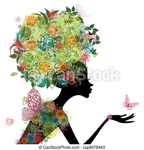 włosy, dziewczyna, fason, arabeska - csp9478443