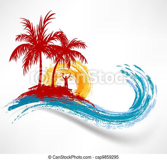 wave., przeciw, ocean, zachód słońca, drzewa, dłoń, człowiek - csp9859295