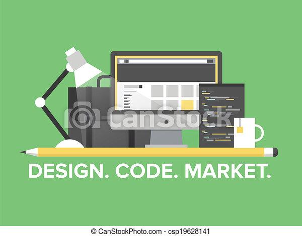 website, kierownictwo, programowanie, ilustracja, płaski - csp19628141