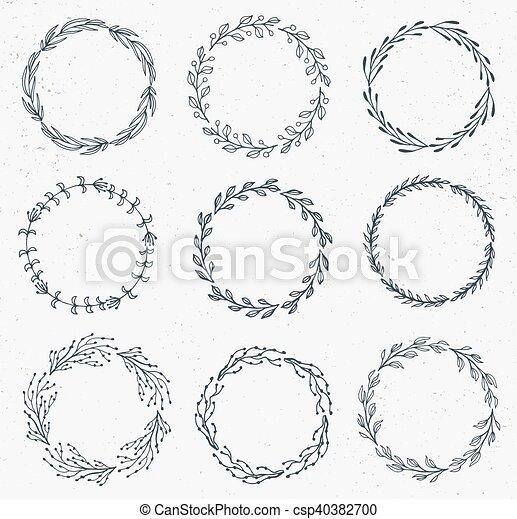 wektor, akwarela, kwiatowy, hand-drawn, ułożyć, komplet, robiony - csp40382700