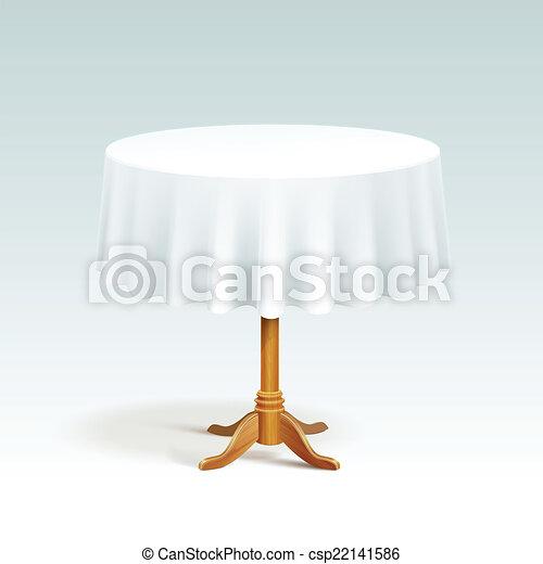 wektor, drewno, stół, tablecloth, okrągły, opróżniać - csp22141586