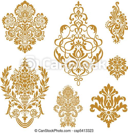 wektor, komplet, ozdoba, złoty, adamaszek - csp5413323