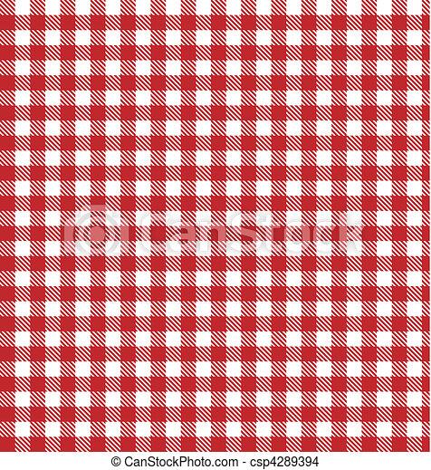 wektor, materiał, klatkowy, piknik, czerwony - csp4289394