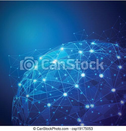 wektor, sieć, cyfrowy, oczko, globalny, ilustracja - csp19175053