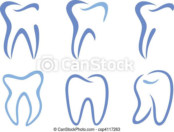 wektor, zęby - csp4117263