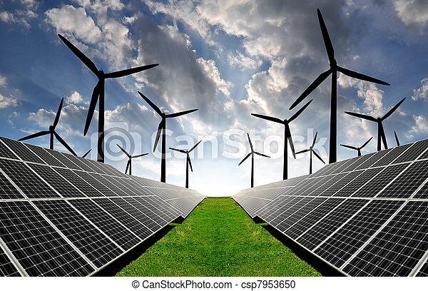 wiatr energia, poduszeczki, słoneczny, turbin - csp7953650
