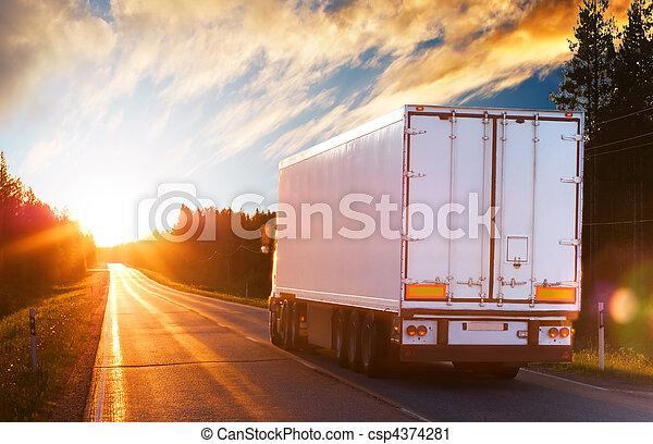 wieczorny, wózek, droga, asfalt - csp4374281