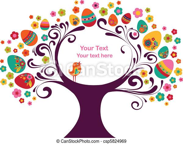 wielkanoc, ułożyć, drzewo - csp5824969