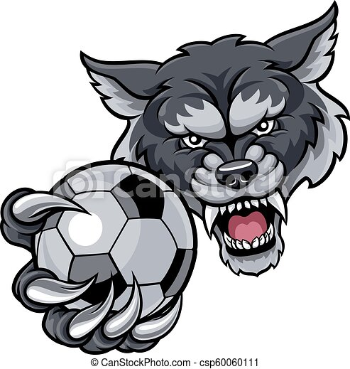 wilk, dzierżawa piłka nożna, piłka, piłka nożna, maskotka - csp60060111