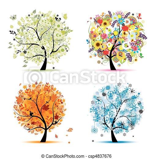 winter., piękny, sztuka, wiosna, jesień, -, drzewo, cztery, projektować, pory, twój, lato - csp4837676