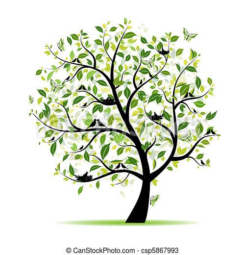 wiosna, drzewo, twój, zielony, projektować, ptaszki - csp5867993