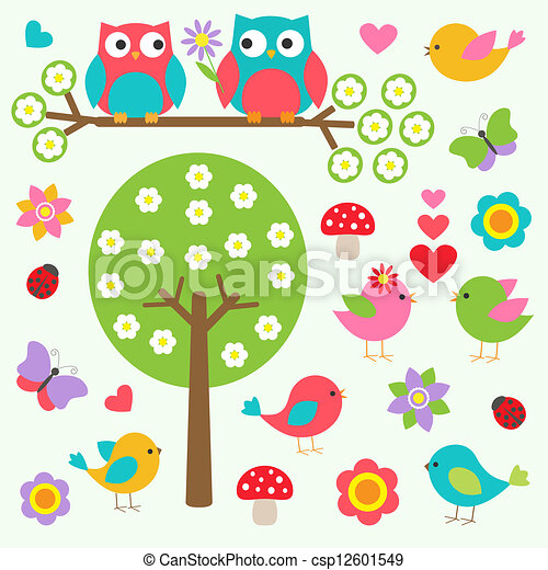 wiosna, ptaszki, las, sowy - csp12601549