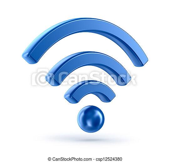 (wireless, network), wifi, ikona, 3d - csp12524380