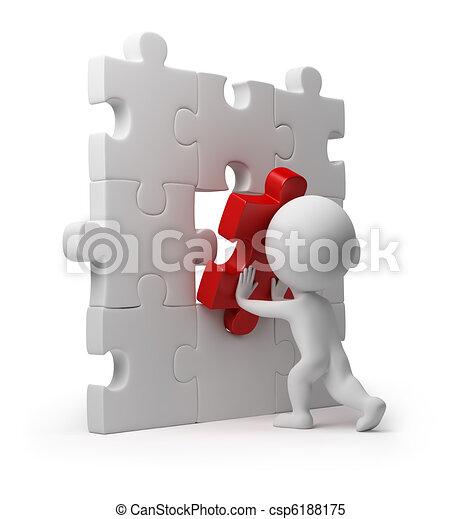 wkładka, ludzie, zagadka, -, mały, 3d - csp6188175