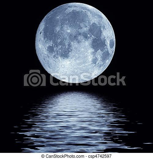 woda, pełny, na, księżyc - csp4742597