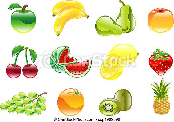 wspaniały, komplet, błyszczący, owoc, ikona - csp1909599