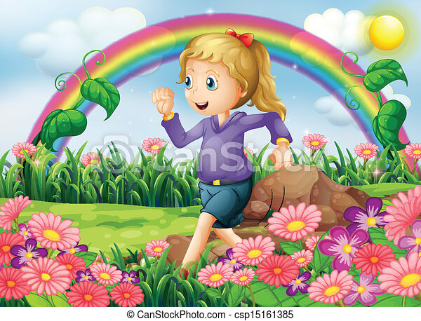wyścigi, ogród, dziewczyna - csp15161385