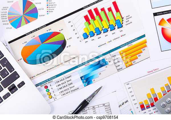 wykresy, stół., wykresy, handlowy - csp9708154
