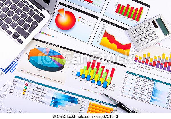 wykresy, stół., wykresy, handlowy - csp6751343