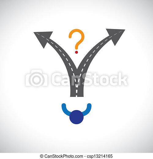 wyobrażenia, kariera, etc, kariera, problemy, graphic., kiedy, zażenowany, ilustracja, wybór, życie, również, osoba, ludzie, zrobienie, trudność, dużo, opcje, decyzja, niniejszy - csp13214165