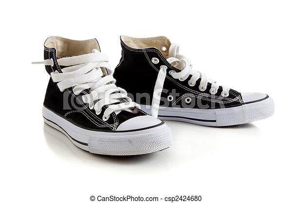 wysoki, czarny szczyt, sneakers, biały - csp2424680