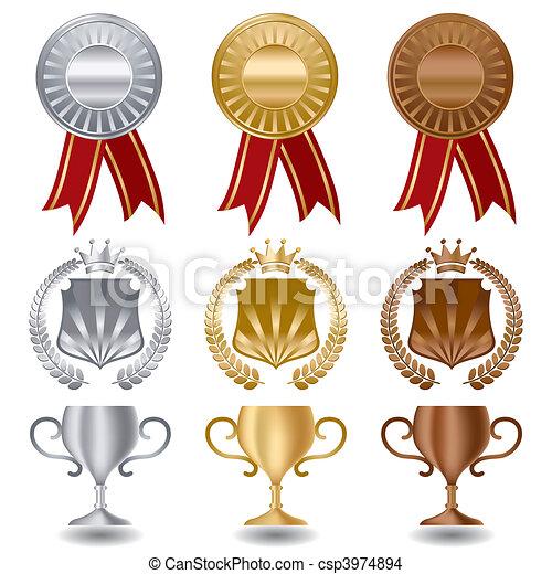 złote srebro brąz, medals - csp3974894