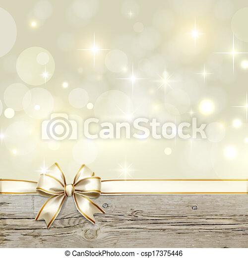 złoty, łuk, ozdoba, bokeh, boże narodzenie, wstążka - csp17375446
