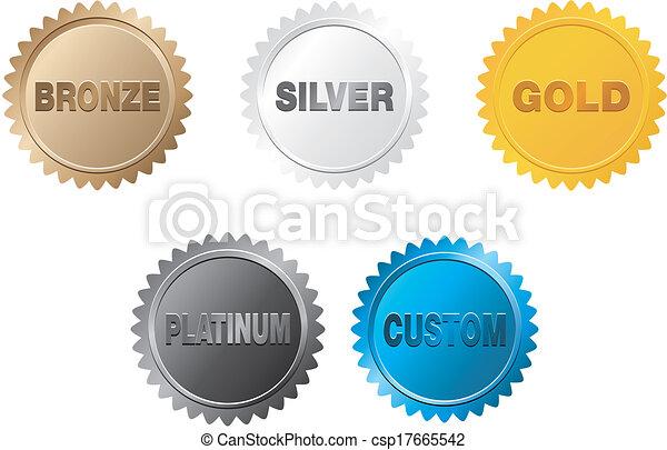 złoty, odznaka, srebro, platyna, brąz - csp17665542