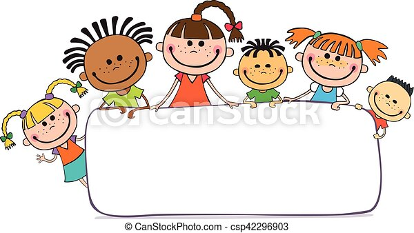 za, dzieciaki, plakat, podglądający, ilustracja - csp42296903