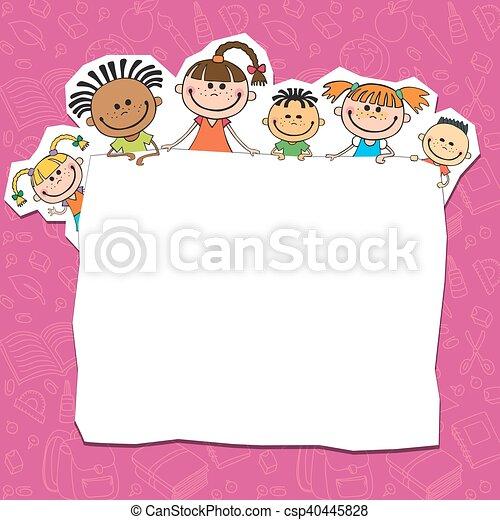 za, dzieciaki, plakat, podglądający, ilustracja - csp40445828