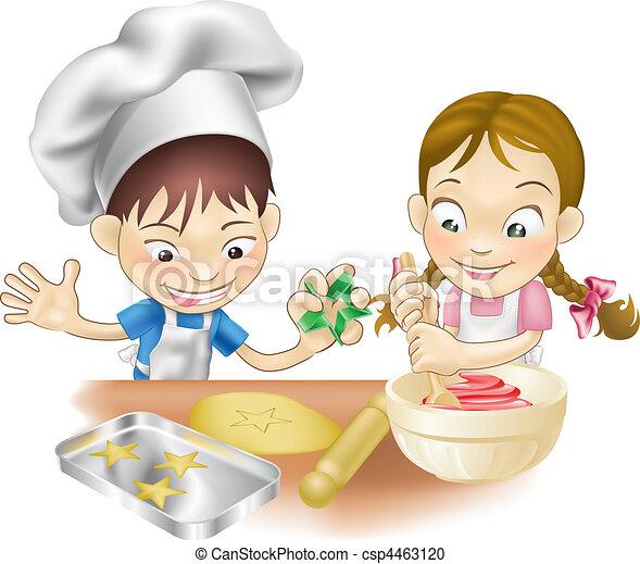 zabawa, posiadanie, dwa, kuchnia, dzieci - csp4463120