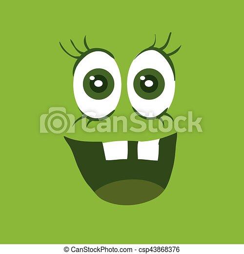 zabawny, potwór, litera, uśmiech, uśmiechanie się, bacteria - csp43868376
