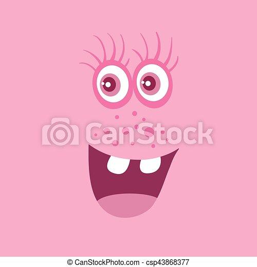 zabawny, potwór, litera, uśmiech, uśmiechanie się, bacteria - csp43868377