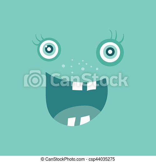 zabawny, potwór, litera, uśmiech, uśmiechanie się, bacteria - csp44035275