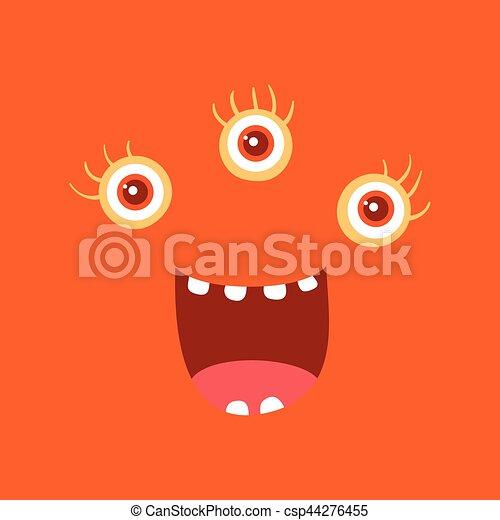 zabawny, potwór, litera, uśmiech, uśmiechanie się, bacteria - csp44276455