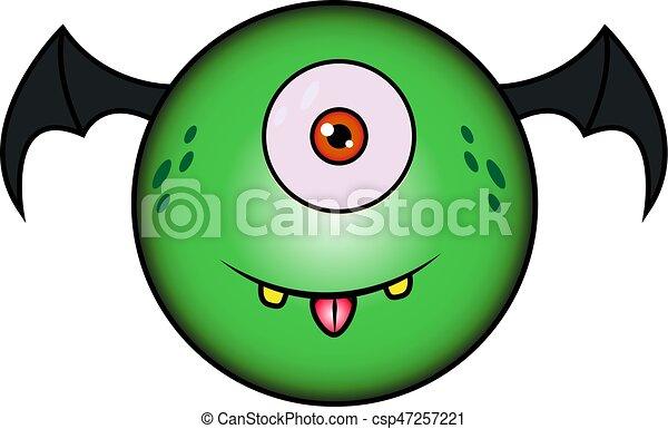 zabawny, rysunek, zielony potwór, skrzydełka - csp47257221