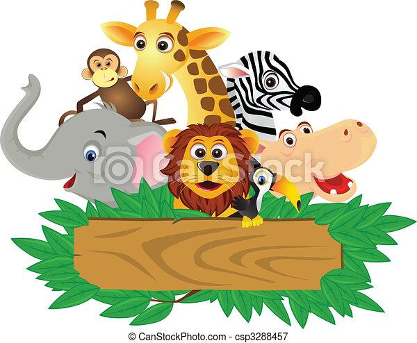 zabawny, rysunek, zwierzę - csp3288457