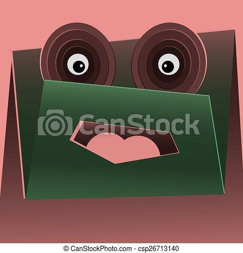 zabawny, wektor, zielony, rysunek, potwór - csp26713140