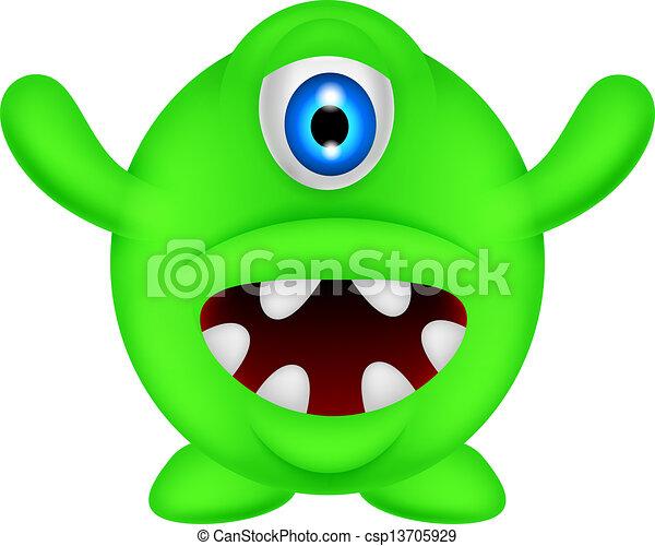 zabawny, zielony potwór - csp13705929