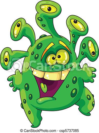 zabawny, zielony potwór - csp5737085