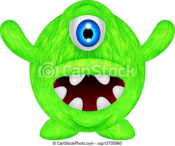 zabawny, zielony potwór - csp13705960