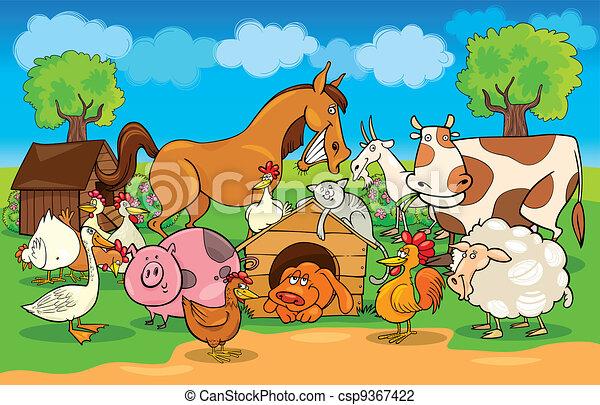 zagroda, wiejski, zwierzęta, scena, rysunek - csp9367422