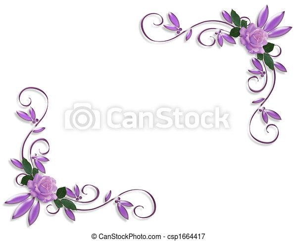 zaproszenie, ślub, brzeg, lawenda, róże - csp1664417