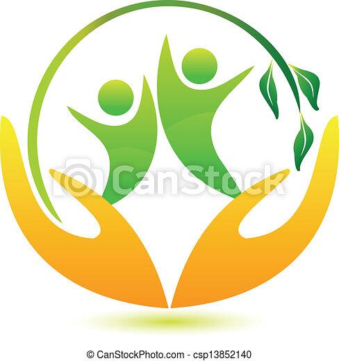 zdrowy, logo, szczęśliwy, ludzie - csp13852140