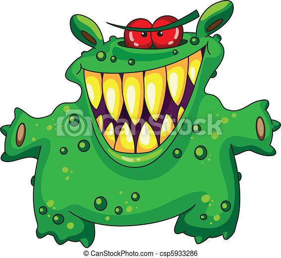 zielony, śmiech, potwór - csp5933286