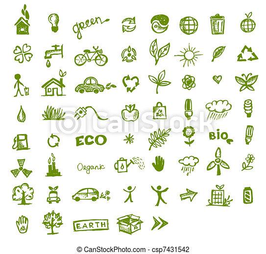 zielony, ekologia, projektować, twój, ikony - csp7431542
