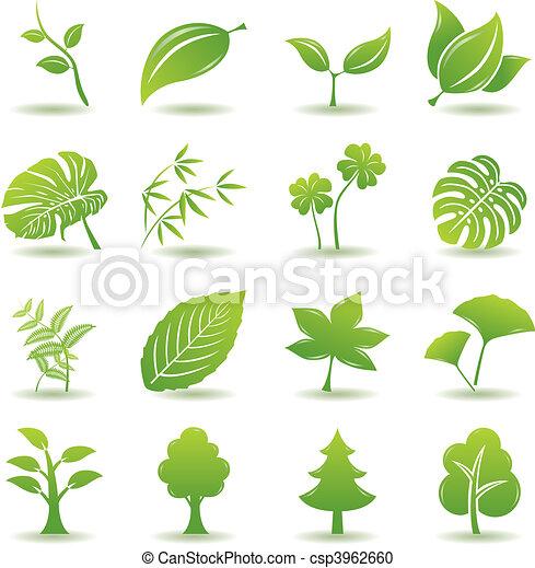 zielony, komplet, liść, ikony - csp3962660