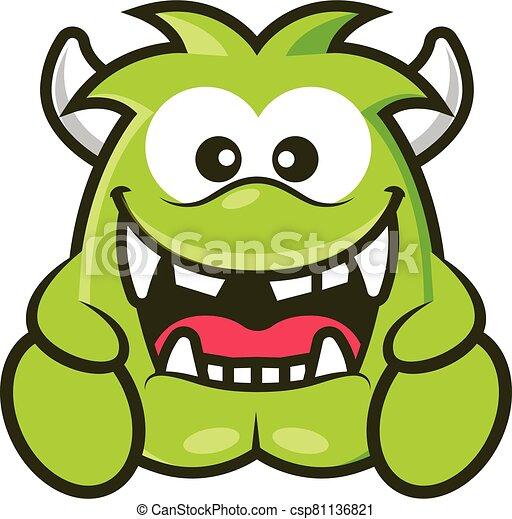 zielony, wektor, róg, rysunek, sprytny, halloween, ilustracja, potwór, śmiejąc. - csp81136821
